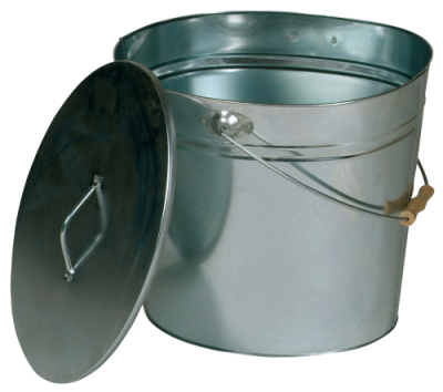 Kohleeimer Ascheeimer mit Griff & Deckel oval verzinkt