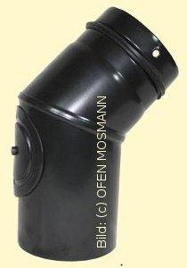 Ofenrohr für Pelletofen DN 100 mm Bogen Knie 45 Grad mit Tür mattschwarz emailliert