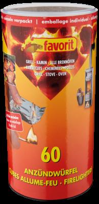 Feueranzünder für Ofen Kamin Grill. Zündwürfel #1248, 60 Stück in der Dose