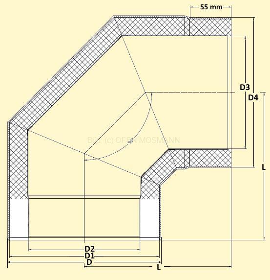 Primus Ofenrohrbogen 90° ohne Tür Maßskizze