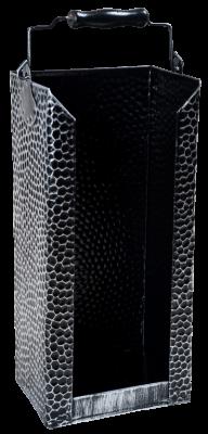 Brikett-Träger schwarz-silber 19 x 15 x 46 cm gehämmert