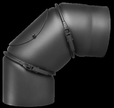 Ofenrohr Kaminofen DN 130 mm Bogen 0-90° mit Tür gussgrau #288