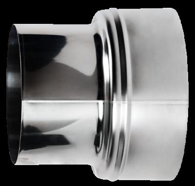 Erweiterung für Ofenrohre aus Edelstahl von DN 130 auf 150 mm