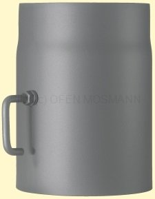 Doppelwandiges Ofenrohr Primus DN 130 mm Länge 0,25 m gussgrau #288 mit Drosselklappe