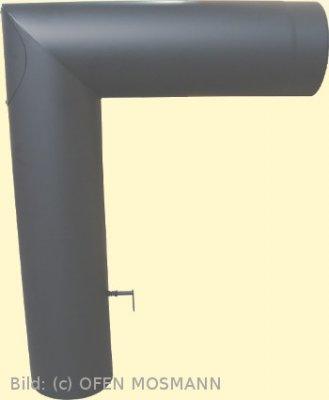 Doppelwandiges Winkelrohr DN 150 mm 790x600 mm mit Tür und Drosselklappe gussgrau #288