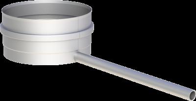 Edelstahlschornstein EW 200 mm x 0,6 mm Kondensatschale mit Ablaufrohr L=250 mm