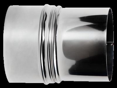 Reduzierung für Ofenrohre aus Edelstahl von DN 130 auf 120 mm