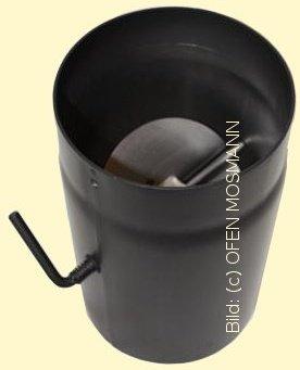 Ofenrohr Kaminofen DN 130 mm 0,25 m Länge mit Drosselklappe gussgrau #288
