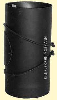 Ofenrohr DN 130 mm Bogen Knie 0-90° mit Tür 2 mm Stahl gemufft schutzlackiert (nicht kratzerfrei)