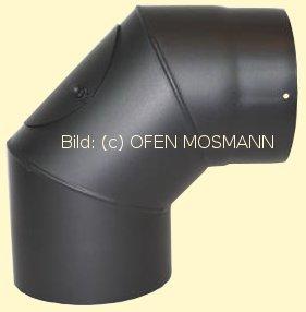 Ofenrohr Kaminofen DN 180 mm Bogen Winkel 90° mit Tür gussgrau #288