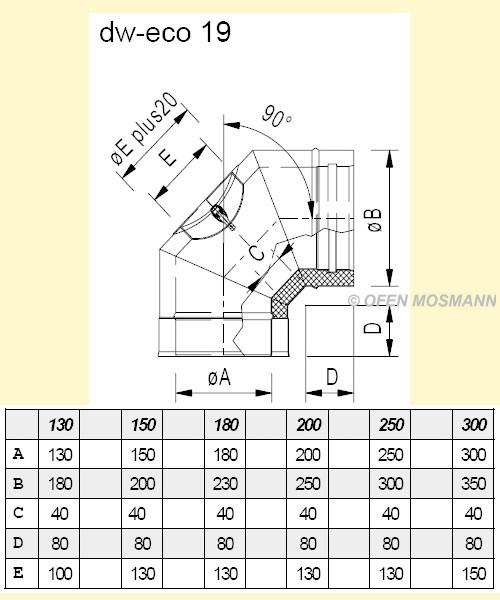 dw eco 2 0 edelstahlschornstein 130 mm o winkel bogen 90d. Black Bedroom Furniture Sets. Home Design Ideas