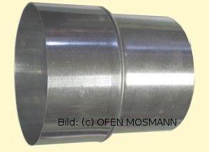 Pelletrohr Übergang 80mm-150mm  Edelstahl Reduzierung Erweiterung Ofenrohr